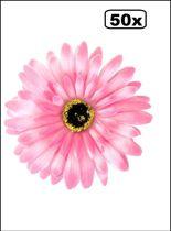 50x Bloem Gerbera roze met pin en haarclip