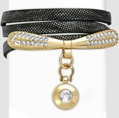 Amanto Armband Cosmas Black - Dames - PU Leer - Messing - Zirkonia - 9 mm - 55 cm