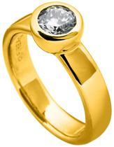 Diamonfire - Zilveren ring met steen Maat 18.0 - Geelgoudverguld - Kastzetting - 8 mm