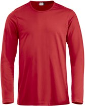 Clique Fashion-T L/S Rood maat XS