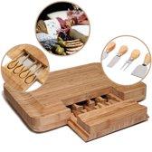 QUVIO Kaasplank met messenset 4-delig hout / Tapasplank en kaasplank van bamboe / Messenset in plank - Bruin