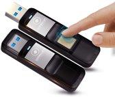 LUXWALLET® Eclipse Series Vingerafdruk 64GB USB Stick Kluis USB 3.0 AES256 Encryptie / Scripties / Foto / Video Wachtwoorden / Belangrijke bestanden / Bitcoin / Crypto + GPS Tracker met Gratis APP + Luxe Pouch - Bewaar al je bestanden Veilig!