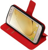 Rood Samsung Galaxy J2 2016 TPU wallet case booktype hoesje HM Book