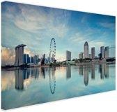 Reflectie in het water Singapore Canvas 120x80 cm - Foto print op Canvas schilderij (Wanddecoratie woonkamer / slaapkamer) / Steden Canvas Schilderijen