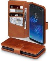 Telefoonhoesje.nl Samsung Galaxy S8, Echt leren portemonnee TPU hoesje, Cocgnac bruin