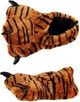 Dierenpoot sloffen/pantoffels tijger voor kinderen - meisjes - jongens 31-32
