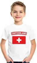 Zwitserland t-shirt met Zwitserse vlag wit kinderen S (122-128)