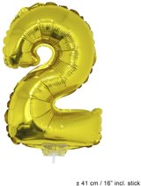 Helium Ballon Nummer 2 - Goud - 41 Cm