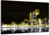 Canvas schilderij Nacht   Geel, Zwart, Grijs   140x90cm 1Luik