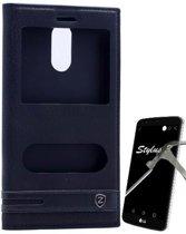 Teleplus LG Stylus 3 Double Window Case Black + Glass Screen Protector hoesje