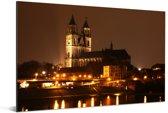 Uitzicht over de rivier en de kathedraal van Maagdenburg Aluminium 180x120 cm - Foto print op Aluminium (metaal wanddecoratie) XXL / Groot formaat!