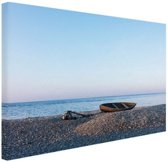 Boot op het strand Canvas 30x20 cm - Foto print op Canvas schilderij (Wanddecoratie)