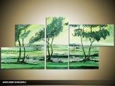 Acryl Schilderij Natuur   Groen   130x70cm 5Luik Handgeschilderd