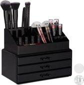 relaxdays make-up organizer klein - stapelbaar - sieradendoosje - cosmetica - opbergbox zwart