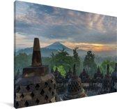 Zonsopgang bij de tempel Borobudur in Indonesië Canvas 180x120 cm - Foto print op Canvas schilderij (Wanddecoratie woonkamer / slaapkamer) XXL / Groot formaat!