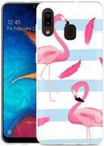 Galaxy A20 Hoesje Flamingo Feathers