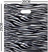 Cadeautas Zebra - Kunststof Tasjes - Set van 100 stuks - 20x25 cm - Dielay