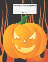 Composition Notebook: Halloween Pumpkin Jack O Lantern Hell Fire, Wide Ruled paper Notebook, Notes Taking, Basic Lines Journal,8.5''x11'',100