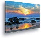 Sunrise Beach Sea Nature Canvas Print 100cm x 75cm