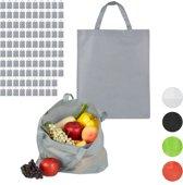 relaxdays 100 x boodschappentas - stoffen tas - effen gekleurd opvouwbaar - 50x40 – grijs