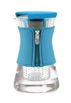 Qdo Karaf Glas - Met Neopreen Sleeve - Voor Warme en Koude Dranken - 1,2 liter - Turquoise