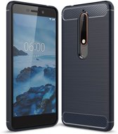 Nokia 6 (2018) hoesje - Rugged TPU Case - blauw