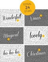 Kerstkaarten - Kerst - 24 stuks - A6 - Zwart/Wit/Grijs/Goud - Fabrikten