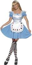 Alice in Wonderland jurkje met schort met speelkaarten - Fantasy verkleedkleding dames maat 40-42