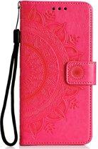 Shop4 - Samsung Galaxy A50 Hoesje - Wallet Case Mandala Patroon Donker Roze