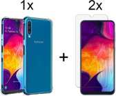 Samsung Galaxy A50 Siliconen Hoesje - 2 x Tempered Glass Screenprotector - Extra Stevige Randen - Shock Proof Case - Transparant