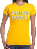 Foute Party zilveren glitter tekst t-shirt geel dames - foute party kleding 2XL
