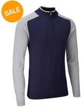 Vapour Casual Half Zip Lined Sweater - Blauw/Grijs