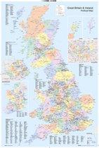 Verenigd Koninkrijk-Engeland-Groot-Brittannië poster kaart 61x91.5cm