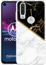 Motorola One Action Hoesje Black-white-gold Marble