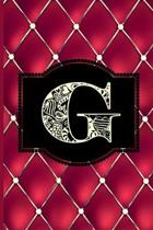 G: Monogram Journal or Diary. Captivating Ruby Red and Gold Diamond Design with a Decorative Uppercase Initial with Textu