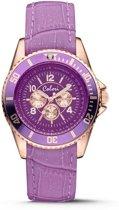 Colori 5-COL395 - Horloge - Leer - Paars - Ø 37 mm