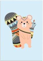 Kinderkamer poster Beertje DesignClaud - Indianen Stijl Kleurrijk - A3 poster