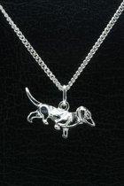 Zilveren Teckel ketting hanger - glad