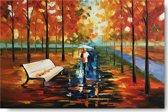 Schilderij boswandeling herfst 90 x 60 Artello - Handgeschilderd - schilderij canvas - woonkamer schilderij - slaapkamer schilderij - schilderij - painting - kunst - schilderij natuur - schilderij landschap