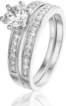 Montebello Ring Duette - Dames - Zilver Gerhodineerd Zirkonia - 2-delig - maat 50 - 16