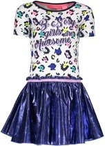 B-Nosy Meisjes jurken B-Nosy Girls multi color panther dress with dess 110/116