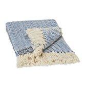 relaxdays plaid - 100% katoen - 130 x 170 cm - geruit patroon - deken - wit blauw