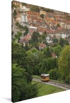 Uitzicht over de Duitse stad Karlsruhe Canvas 120x180 cm - Foto print op Canvas schilderij (Wanddecoratie woonkamer / slaapkamer) / Europese steden Canvas Schilderijen XXL / Groot formaat!