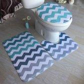antislip badmat & WC mat set 3 -delig  badkamertapijt toiletmat