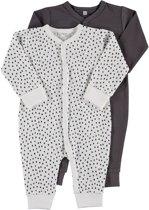 Zeeman just born pyjama - Wit/ grijs - Maat 68 - 2 stuks