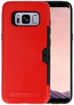 Rood Tough Armor Kaarthouder Stand Hoesje voor Samsung Galaxy S8