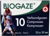 Biogaze verbandgazen 10x10cm 10 st