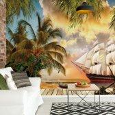 Fotobehang Tropical View | V8 - 368cm x 254cm | 130gr/m2 Vlies