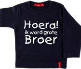 T-shirt lange mouw |  Hoera! ik word grote broer| navy | maat 110/116