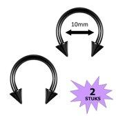 Fako Bijoux® - Circular Barbell Piercing - Hoefijzer Spike - 10mm - Zwart - 2 Stuks
